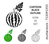 watermelon icon cartoon. single ... | Shutterstock .eps vector #713391553