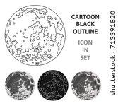 moon icon in cartoon style... | Shutterstock .eps vector #713391820
