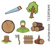 sawmil and timber set icons in...   Shutterstock .eps vector #713393644