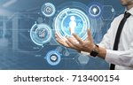 young businessman making... | Shutterstock . vector #713400154