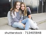 portrait of two pre teenage... | Shutterstock . vector #713405848