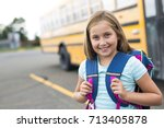 nine years old girl student at... | Shutterstock . vector #713405878