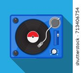 record player with vinyl record. | Shutterstock .eps vector #713406754