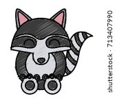 racoon animal cartoon | Shutterstock .eps vector #713407990