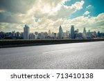 empty asphalt road with... | Shutterstock . vector #713410138
