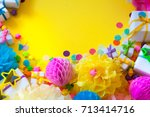 festive accessories for the hen ... | Shutterstock . vector #713414716