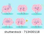 cute cartoon brain on the blue... | Shutterstock .eps vector #713430118