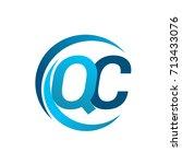 initial letter qc logotype... | Shutterstock .eps vector #713433076