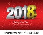 happy new year 2018  wish you...   Shutterstock .eps vector #713433430