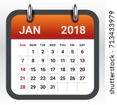 january 2018 calendar vector... | Shutterstock .eps vector #713433979