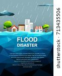 polygonal flooding in city... | Shutterstock .eps vector #713435506