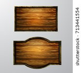 wooden signs  vector icon set | Shutterstock .eps vector #713441554