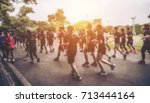 blurred crowded people marathon ... | Shutterstock . vector #713444164