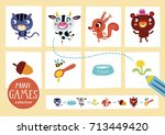 mini games collections. feed... | Shutterstock .eps vector #713449420