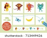 mini games collections. feed... | Shutterstock .eps vector #713449426
