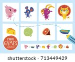 mini games collections. feed... | Shutterstock .eps vector #713449429