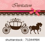 invitation card with carriage   ... | Shutterstock .eps vector #71344984