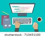 programming flat design | Shutterstock .eps vector #713451100