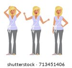 set of woman expression.... | Shutterstock . vector #713451406