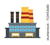 oil refinery flat icon vector... | Shutterstock .eps vector #713453680