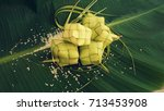 ketupat  rice dumpling  and... | Shutterstock . vector #713453908