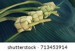 ketupat  rice dumpling  and... | Shutterstock . vector #713453914