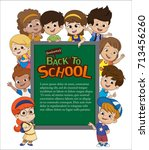 back to school blank template... | Shutterstock .eps vector #713456260