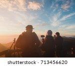 group of tourist enjoying the... | Shutterstock . vector #713456620