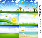 6 beautiful landscape with... | Shutterstock . vector #71345674