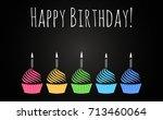 happy birthday cupcakes design... | Shutterstock .eps vector #713460064