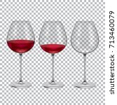 realistic empty  half and full... | Shutterstock .eps vector #713460079