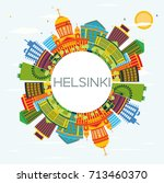 helsinki skyline with color... | Shutterstock .eps vector #713460370