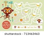 funny maze for children. feed... | Shutterstock .eps vector #713463463