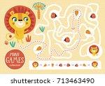 funny maze for children. feed... | Shutterstock .eps vector #713463490