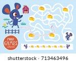 funny maze for children. feed... | Shutterstock .eps vector #713463496