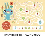 Stock vector funny maze for children feed the rabbit mini games collections 713463508