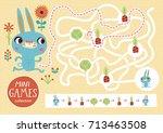 funny maze for children. feed... | Shutterstock .eps vector #713463508