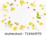 autumn frame made of birch tree ... | Shutterstock . vector #713463970