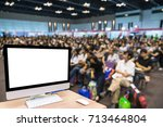 computer set showing the white... | Shutterstock . vector #713464804