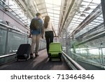 asian couple traveler with... | Shutterstock . vector #713464846