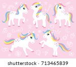 cute white little pony or horse ... | Shutterstock .eps vector #713465839