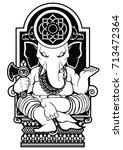 ganesha god vector art tattoo... | Shutterstock .eps vector #713472364