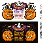 template of halloween... | Shutterstock .eps vector #713482714
