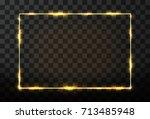 vector golden frame with glow... | Shutterstock .eps vector #713485948