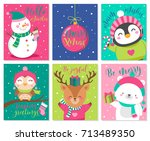 vector set of cute cartoon... | Shutterstock .eps vector #713489350