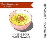 cheese soup with prawns and...   Shutterstock .eps vector #713489980