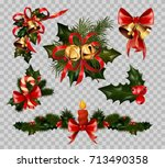 christmas decoration fir wreath ... | Shutterstock .eps vector #713490358