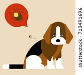 illustration of a dog with a... | Shutterstock .eps vector #713491696