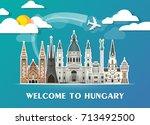hungary landmark global travel...   Shutterstock .eps vector #713492500