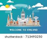 finland landmark global travel... | Shutterstock .eps vector #713493250